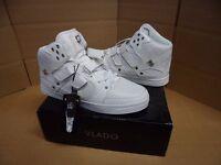 Vlado Footwear Men's Knight White Leather Hightop Shoes