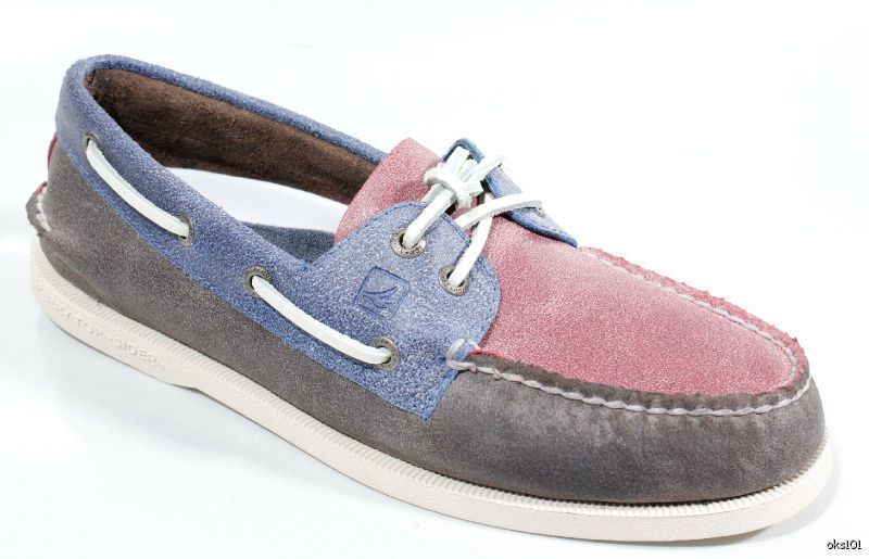 New SPERRY Top-Sider mens A O 2-eye brown bluee red leather boat shoes 8 CLASSIC