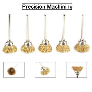 10pc 8mm Brass Wire Drill Cleaning Brushes 3mm Shank Rotary Power Tool