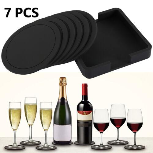 7 un Redondo Posavasos de silicona negro antideslizante Esteras Pad Gafas De Mesa Bebidas Taza lo