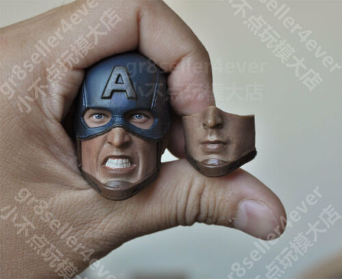 1//6 Scale Captain America Custom Head Sculpt with 2 face plate For Hot Toys Body