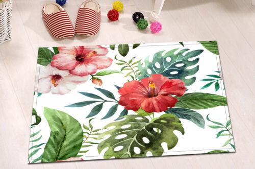 Tropical Flower Green Leaves Shower Curtain Fabric Hooks Set Bath Mat Rug Decor