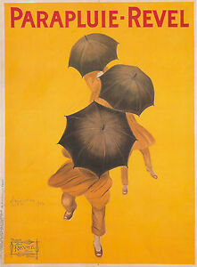 A1-Print-art-vintage-advert-large-painting-yellow-poster-umbrella-french-old