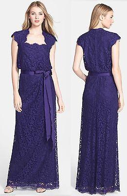 $368 Tadashi Shoji Lace Blouson Belted Cap Sleeve Royal Purple Dress Gown