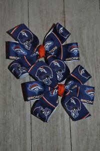 Set of Two Denver Broncos Bows Broncos Bows Broncos Hair Bows