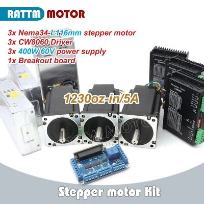 3 Axis NEMA34 stepper motor Dual shaft 1230oz-in 116mm&Motor Driver&Power supply