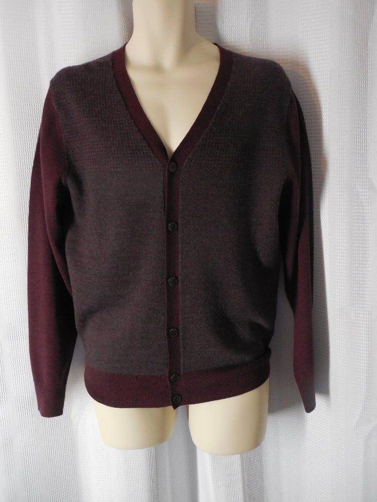 HART SCHAFFNER MARX Cardigan Small Maroon ROT 100% Merino Wool NWT