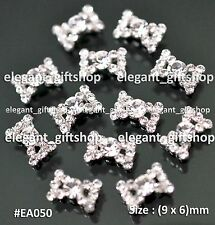 #EA050 3D Nail Art Tips Decoration Hollow Bow Knot Clear Glitter Rhinestones