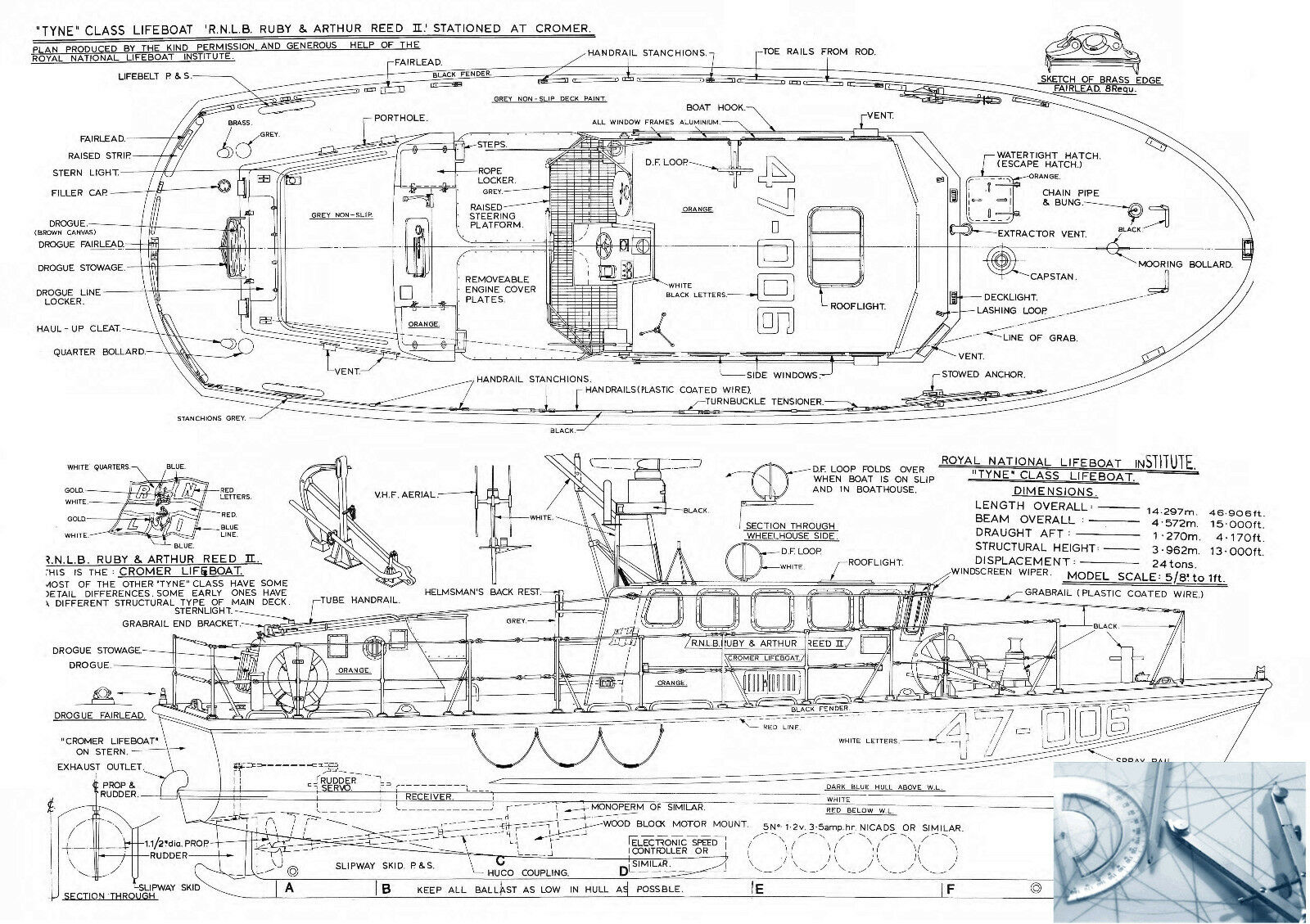 Model boat plan scale tyne class lifeboat r c f s printed for Model building plans