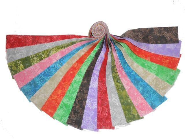 "20 2.5"" Quilting Fabric Jelly Roll WOF Beautiful Batik Tonals !! Buy it Now !#2"