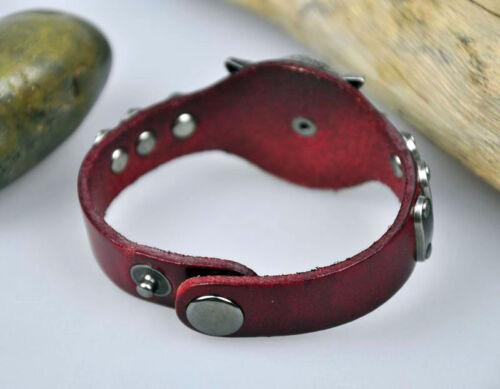 S390 Para Hombre Cool Rock Wolf Con Tachas Real Pulsera De Cuero Pulsera Brazalete De 4 Colores