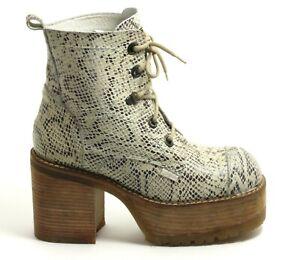 497 Leder Boots Schnürschuhe Worker Plattform Fake Snake Damenschuhe Buffalo 41