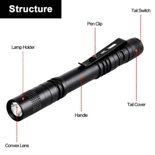 5Pcs XPE LED Flashlight Clip Penlight Mini Portable Light Pen Torch Lamp Outdoor