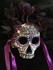 Sugar Skull Half  Mask Day Of The Dead  Purple Silk Roses Spider Cross  363