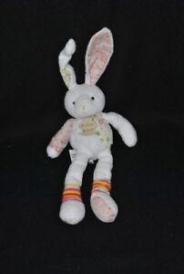 Peluche-doudou-lapin-blanc-HISTOIRE-D-039-OURS-motifs-fleurs-chaussettes-22-32-cm-BE