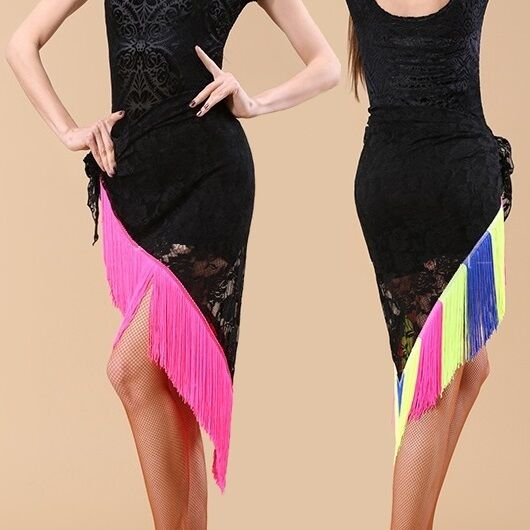 HJ11# Belly Dance Costume Fringe Triangle Lace Hip Scarf /Latin Skirt 10 Colors