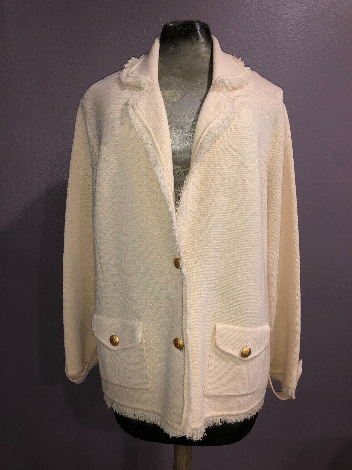 Bloomingdales 100% Wool Knit Cardigan Jacket Sz 2X