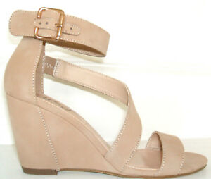 RRP  BETTS SIZE 4 5 6 7 NUDE BEIGE WEDGE MID HEEL ANKLE STRAP SHOES SANDALS