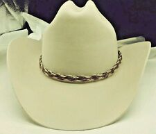 NEW Horsehair HAT BAND #2 Brown/White Woven with Tassels Western Cowboy Hatband