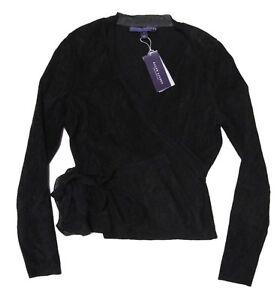 2-898-Ralph-Lauren-Purple-Label-Womens-Italy-Black-Suede-Leather-Silk-Jacket