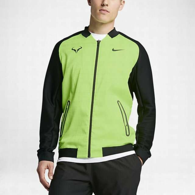 Nike Court Premier Rafael Nadal Mens Tennis Jacket Black Volt Green 830929-367