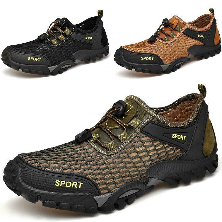 Mens Mesh Breathable Lace up Flats shoes Round Toe Sandals Ultra-light Non-slip