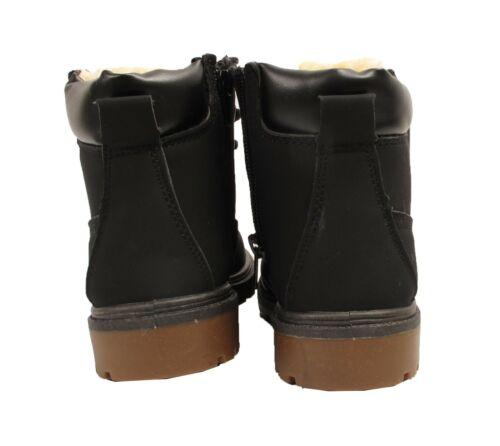 Garçons Filles Enfants Jeunes Chaud Doublé de Fourrure à Lacets Combat Hiver Neige Bottines Chaussure