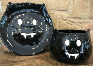 Pottery Barn Bat Plate Bowl Set Halloween Black Decor Candy Dish Serving New 9781840185003 Ebay