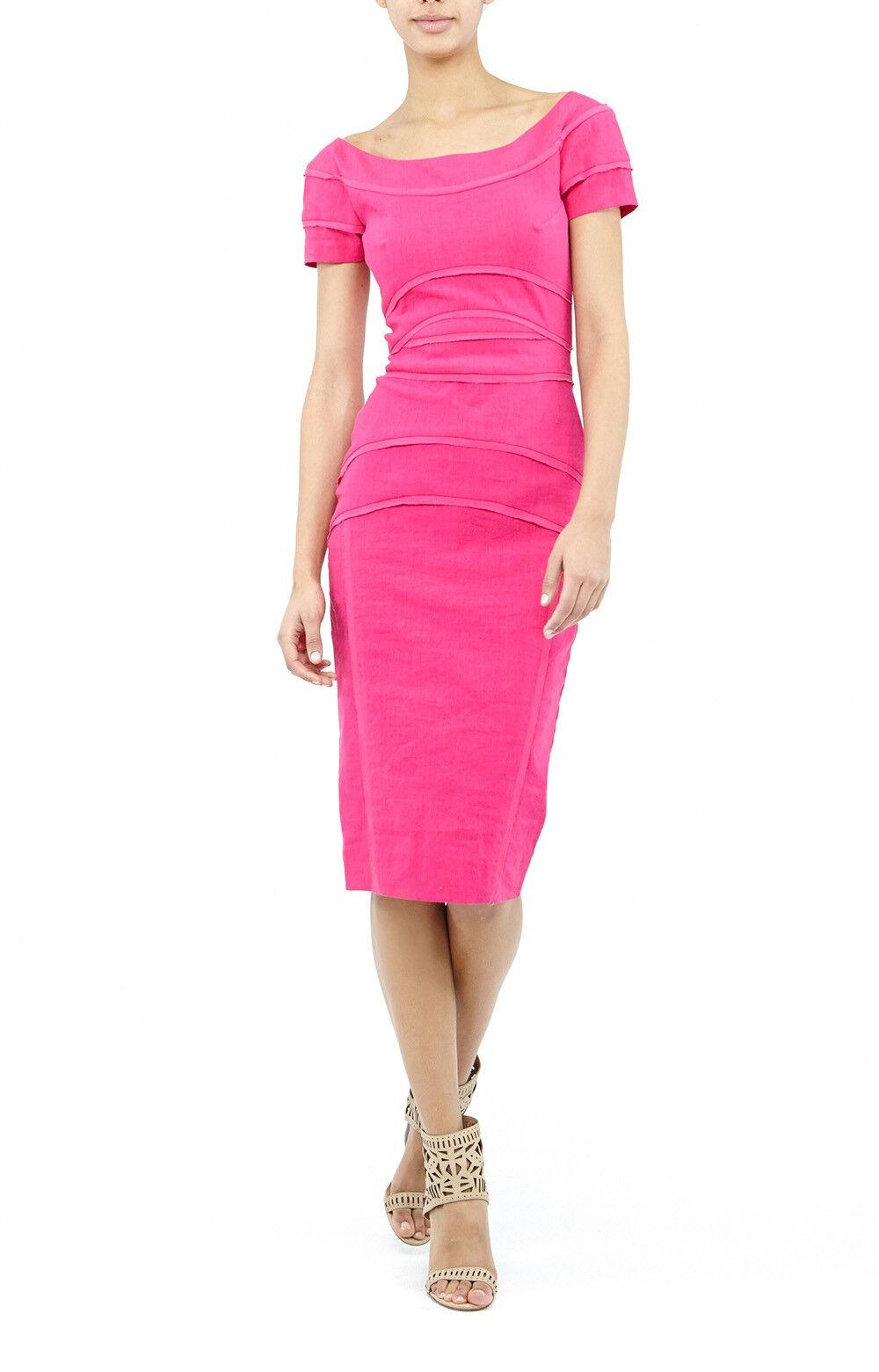 NICOLE MILLER  KARINA Cuello Bote Mezcla De Lino Stretch Vestido Berry Talla 0  320 BJ10014  distribución global