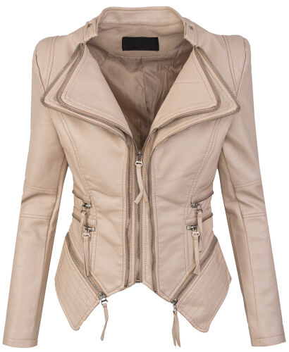 Da Donna ecopelle Giacca Transizione Giacca Similpelle Biker Giacca d-305 S-XL Nuovo