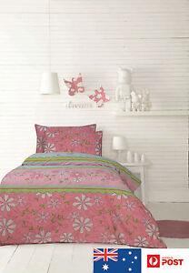 Girls-Quilt-Cover-Set-Daisy-Chain-Pink-Bed-Linen-Sheet-ARDOR-Kids-Single-Double