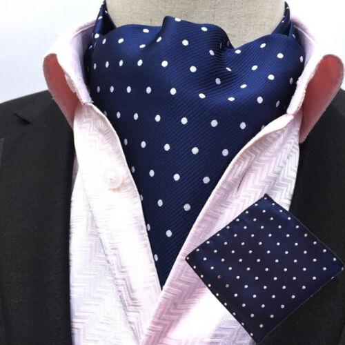 Men White Navy Blue Polka Dots Silk Necktie Cravat Ascot Pocket Square Set Lot