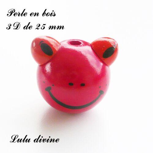 Rouge Perle 3D Tête de grenouille Perle en bois de 25 mm