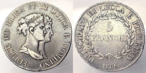 5 Francs 1806 Felice and Elisa Principality of Lucca Piombino Silver R2 BB#3412A