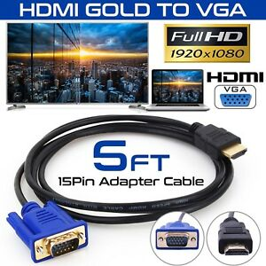 HDMI-Gold-Male-To-VGA-HD-15-Male-15Pin-Adapter-Cable-5FT-1-5M-1080P-USA-Stock