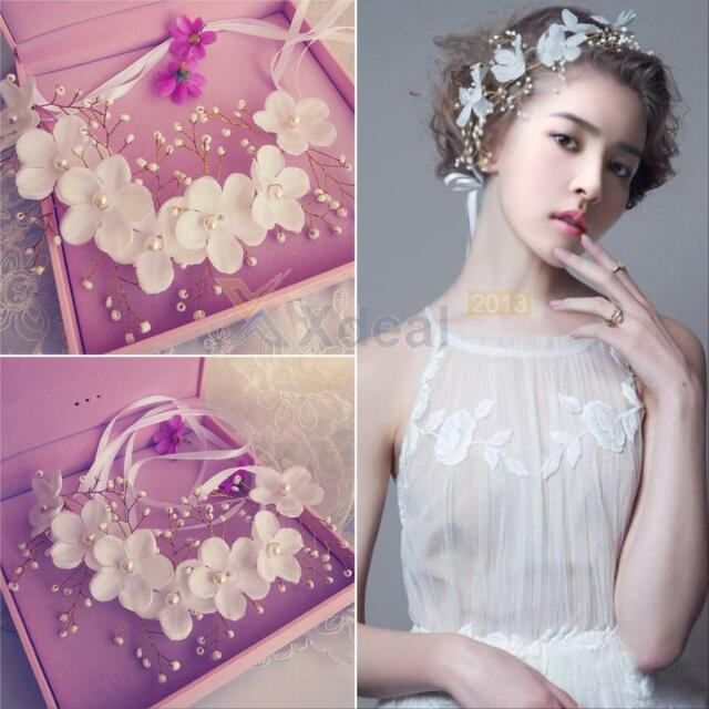Flowers Pearl Tiara Bridal Wedding Party Crown Headdress Headband Floral Hair