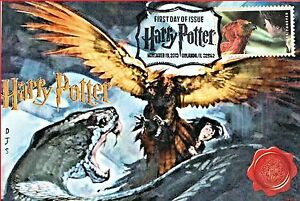 """Fawkes"" Harry Potter Stamps FDC on 4x6 Postcards Easily Framed Orlando 11/19"