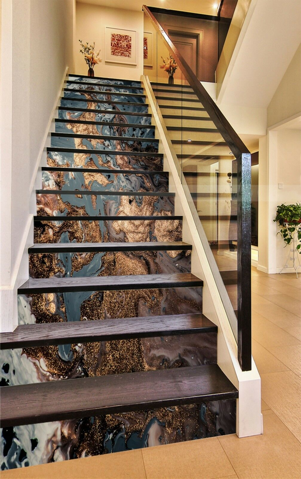 3D Muster 833 Fliese Marmor Stair Risers Fototapete Vinyl Aufkleber Tapete