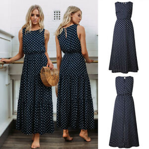 UK-Womens-Maxi-Long-Dress-Swing-Beach-Ladies-Summer-Pleated-Spotted-Stretchy