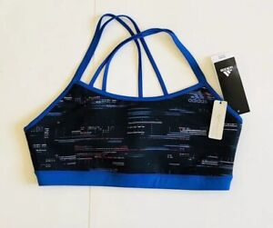 Adidas-Women-Size-Large-Blue-Strappy-Printed-Fitness-Sports-Bra-Athletic