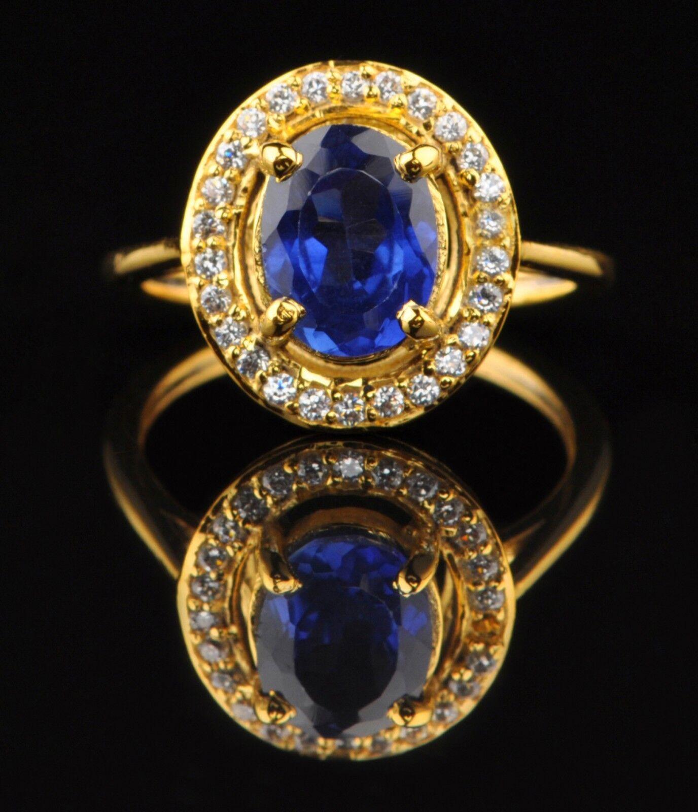 2.00 Carat 14KT Yellow gold Natural bluee Tanzanite & EGL Certified Diamond Ring