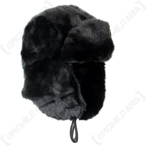 Black Faux Fur Ushanka Winter Warm Russian Cossack Thick Ski Ear Flap Hat New