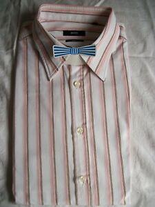 Chemise-manche-longue-coton-blanc-raye-rose-marron-HUGO-BOSS-XXL-45-46