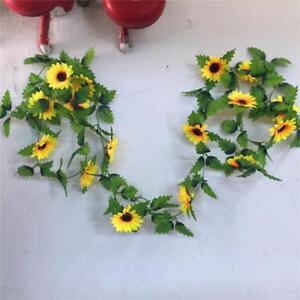 Yellow-Sunflower-Chain-Garland-8-5-ft-Silk-Wedding-Gazebo-Deco-Flowers-Arch-Nice