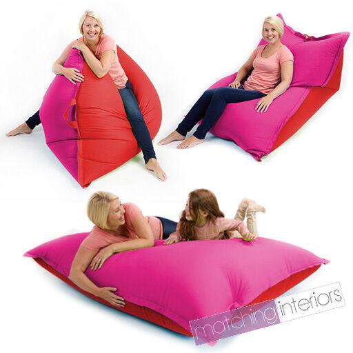 Red Pink Bean Bag Slab XXL Giant Beanbag Floor Cushion Seat Adult Indoor Outdoor