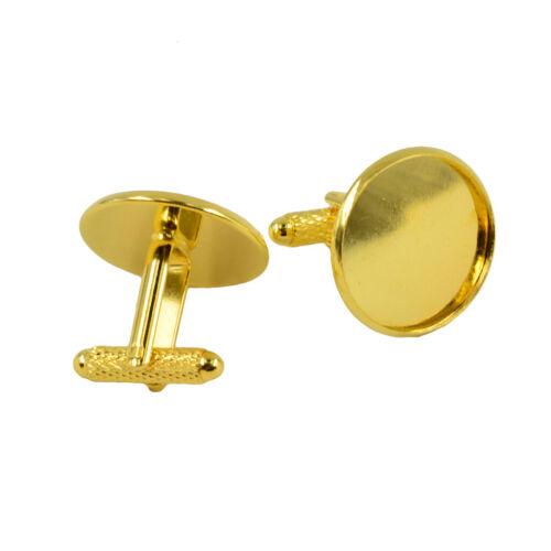 6pcs Round Blank Settings Cuff Links DIY Craft Jewelry Bronze//Black//Gold//Silver