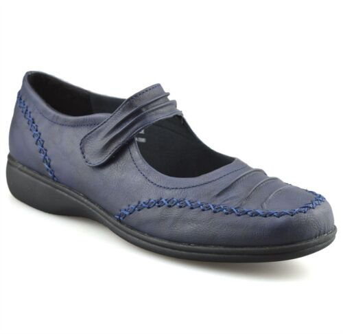 Ladies Womens Casual Flat Comfort Walking Work Pumps Mary Jane Strap Shoes Size