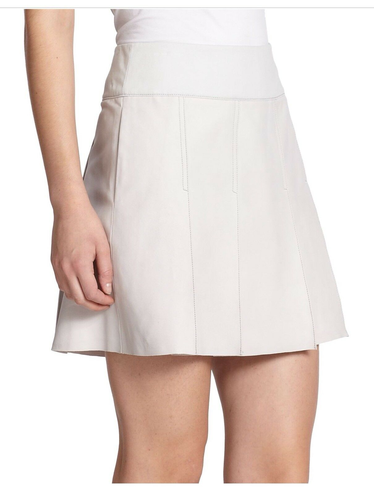 Vince Leather Pleated Skirt, size 8 10