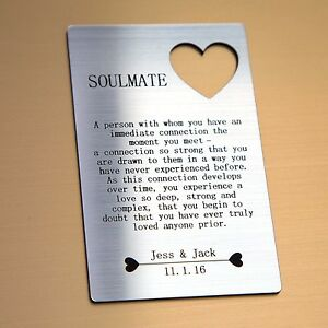 Image Is Loading Personalised Soulmate Wallet Card I Love You Valentines