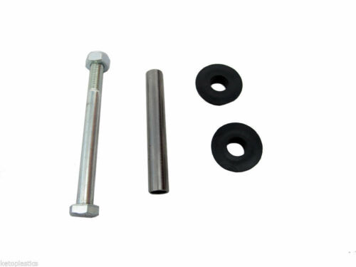 """wheelbarrow axle set 160mm x 10mm bolt 12.5 axle and 2 bushes for 1/"""" 25.4mm bore"""